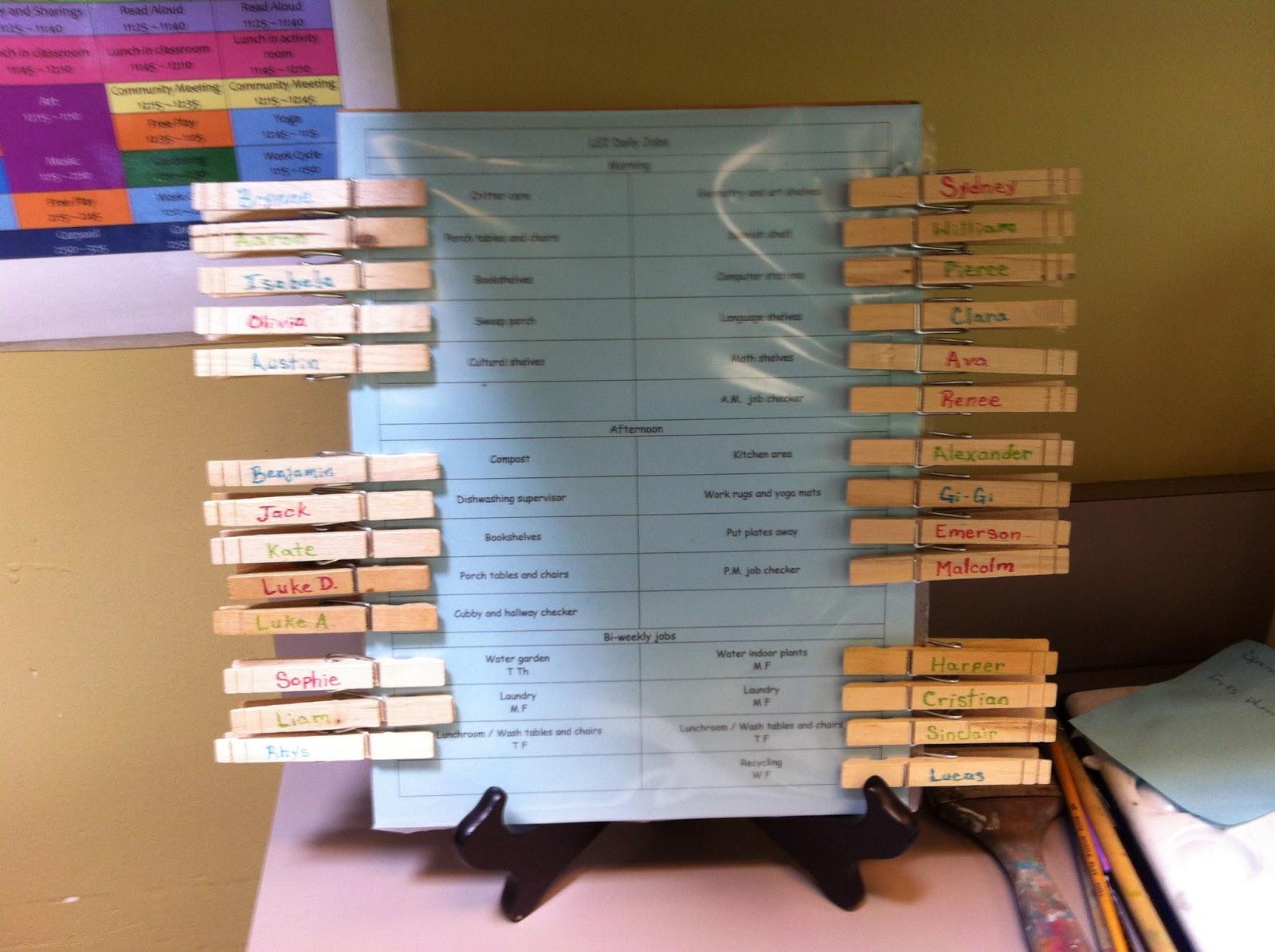 Montessori Spanish Chore Charts In The Classroom