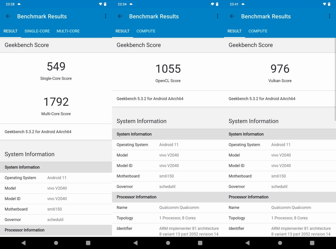 Benchmark Geekbench 5 Vivo V20 2021