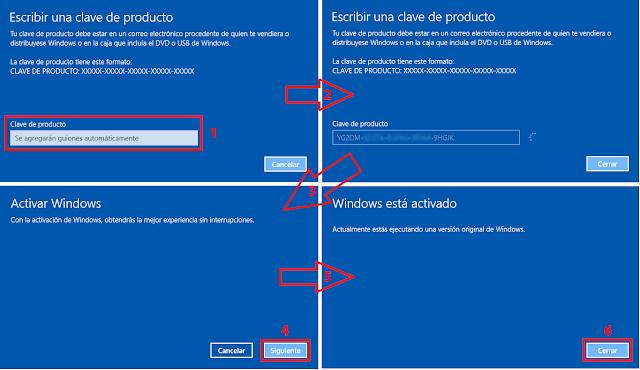 Asistente para cambiar la clave del producto de Windows 10.