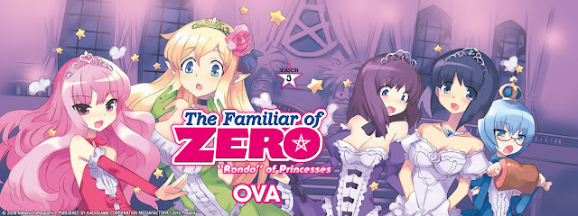OVA banner of The Familiar Of Zero with beautiful magical anime girls wearing gowns and tiaras in pink background.