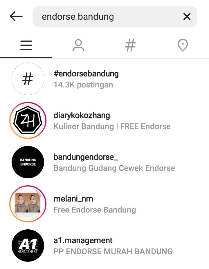 Endorse di Instagram