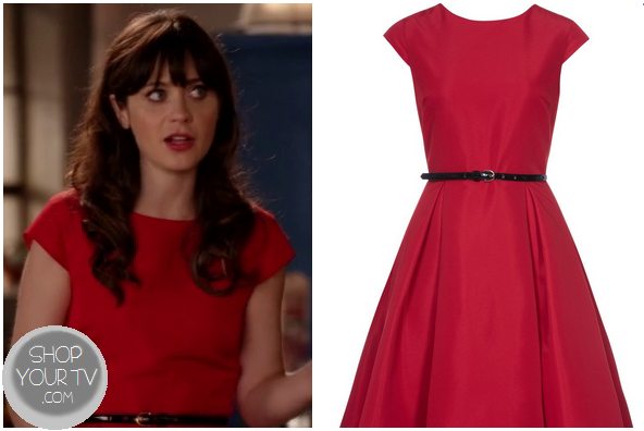 fb9e29dd1 Jess Day (Zooey Deschanel) wears this cute red vintage style dress with a  black belt, cap sleeves and flared skirt in last week's episode of New Girl.