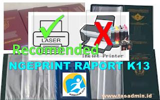 print rapor k13 menggunakan printer laser