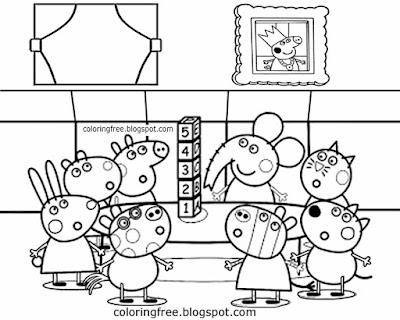 Freddy Fox Danny Dog Zoe Zebra Emily Elephant Peppa Pig coloring picture playschool letter bricks
