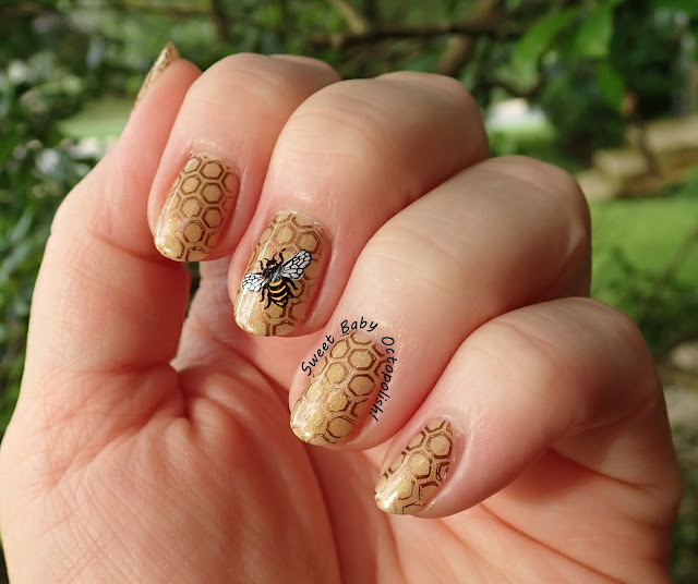 Bees & Honeycomb stamped manicure