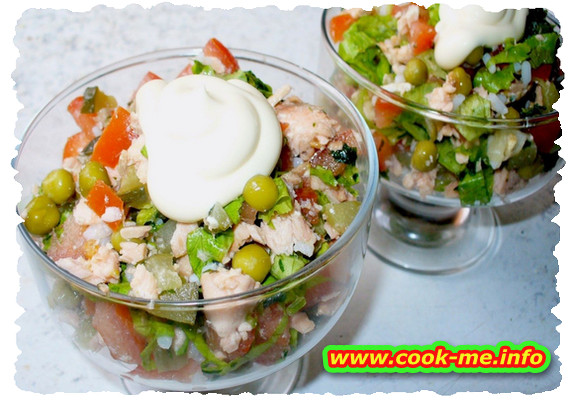 Salad with smoked fish