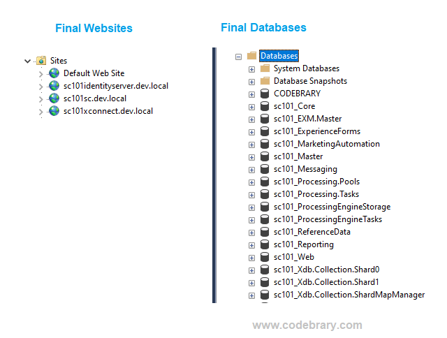 Website in IIS and Databases after adding prefix sc101