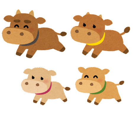 牛の家族のイラスト(丑年)