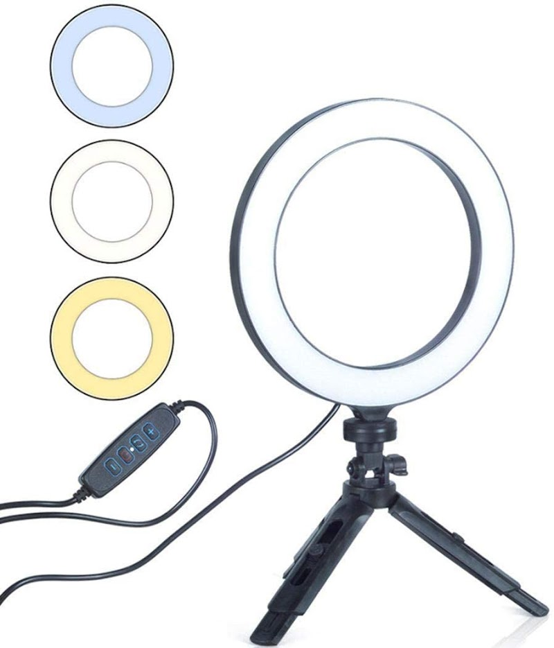"70%  off 6"" Selfie Ring Light with Selfie Stick Tripod for Live Stream/Makeup, Mini LED Camera Selfie Ringlight"