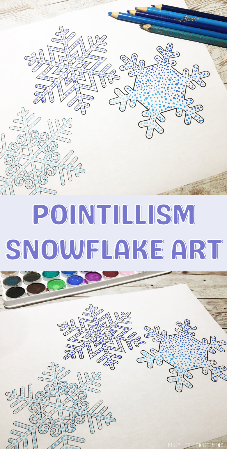 Easy pointillism art for kids. Snowflake art project with snowflake template.