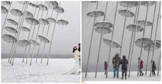 Χιονισμένοι Νιόπαντροι στην Κατάλευκη Θεσσαλονίκη! Μαγευτικές Εικόνες από τη Συμπρωτεύουσα
