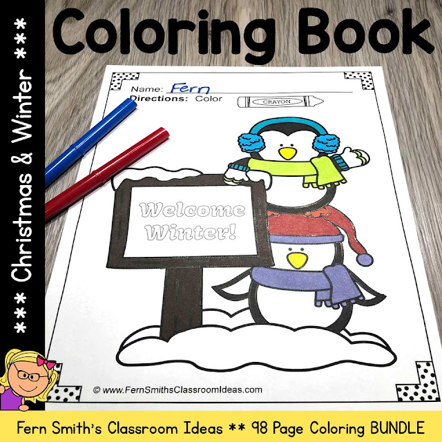 120 Christmas Coloring Pages and Winter Coloring Pages Bundle
