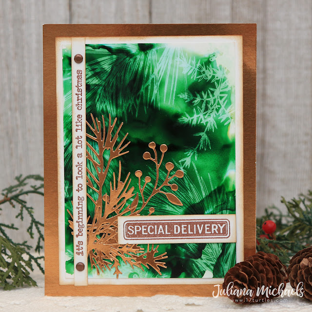 Special Delivery Christmas Card Alcohol Lift Ink Background by Juliana Michaels featuring Tim Holtz Forest Floor Stamp Set