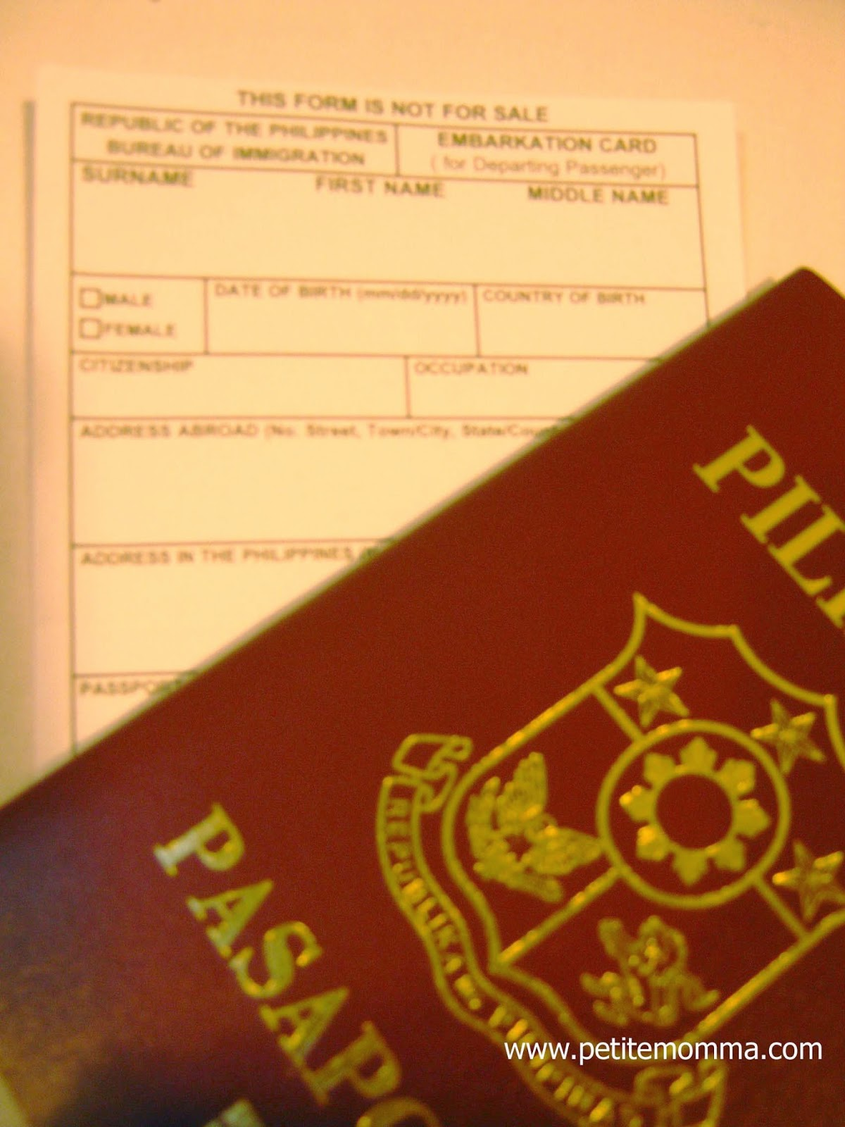 Philippines Embarkation Card