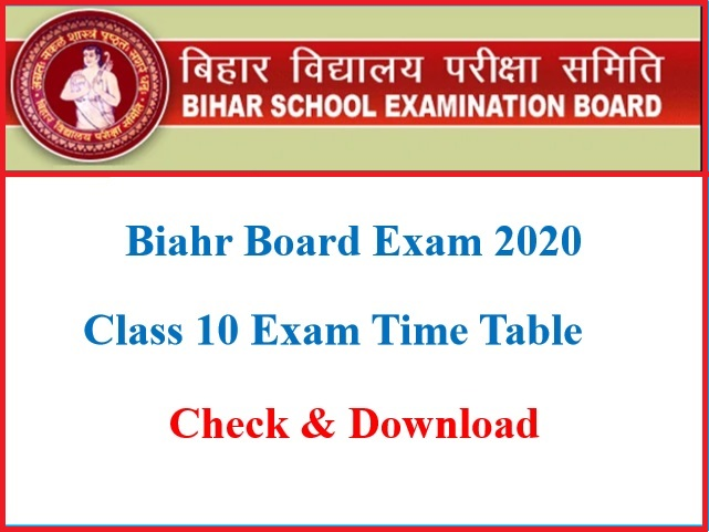 Time Table For Bihar Board 2020