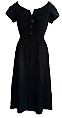 Gail Carriger Retro 1940s Black Velvet Top and Polkadotted Skirt and Tilted Hat