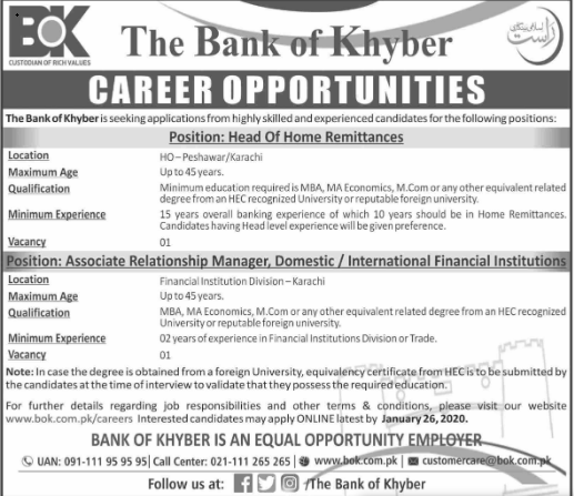 Jobs The Bank of Khyber Latest Advertisement 2020