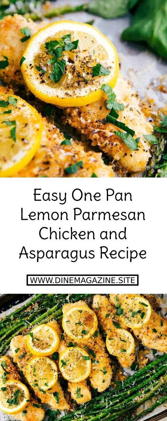 Easy One Pan Lemon Parmesan Chicken and Asparagus Recipe - Lightly breaded garlic lemon parmesan chicken and asparagus all cooked on ONE pan. Easy and delicious dinner! This dinner is so easy to make and bursting with fresh Spring flavors. #easydinnerrecipe #easychickenrecipe #chickenrecipe #chicken #dinner #parmesan #asparagus #lemon #onepan #onepanrecipe #maindish #dish