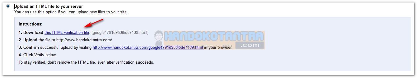 Verifikasi menggunakan file HTML
