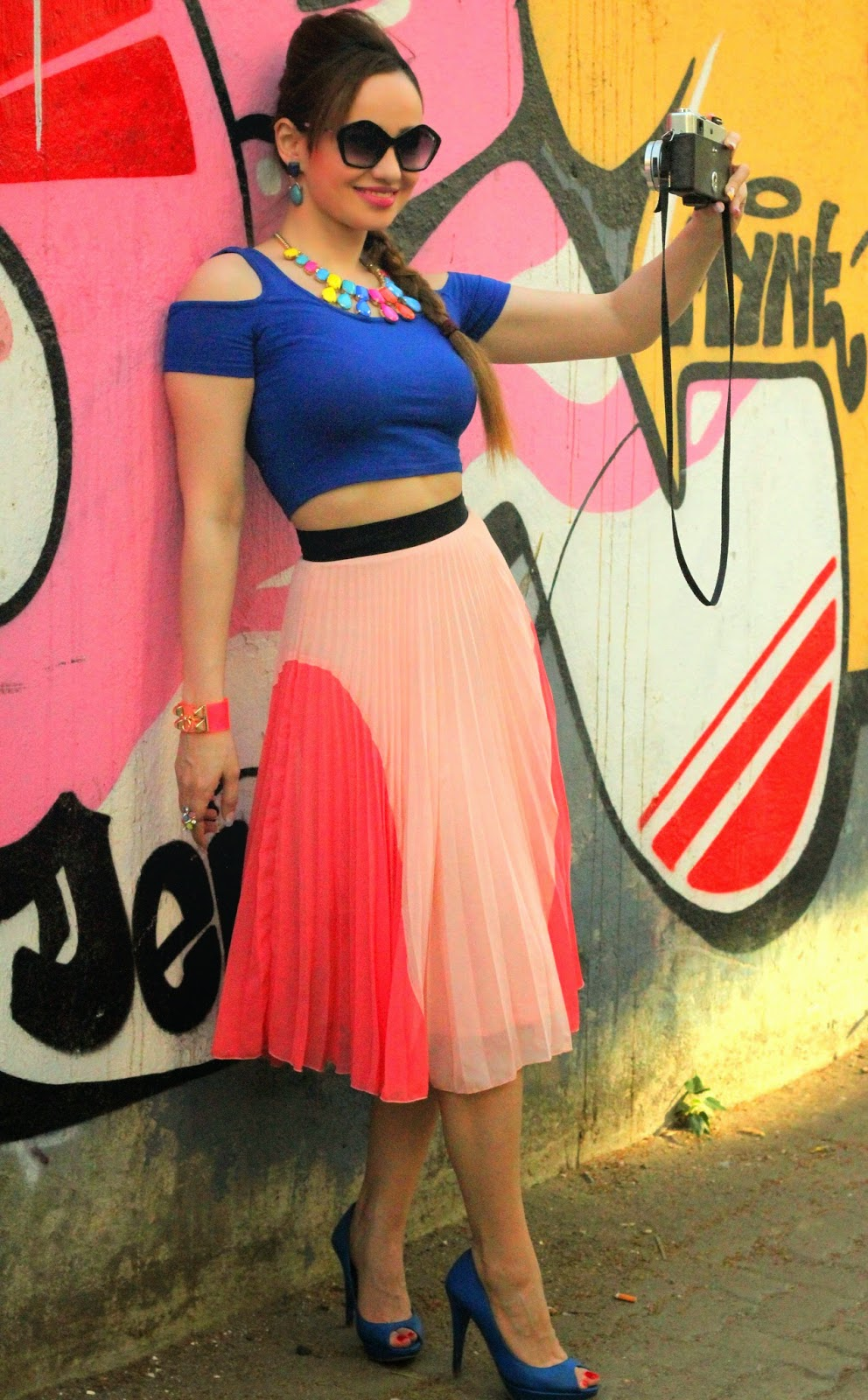 Forever21 Blue Crop Top & River Island Pink Pleated Tea-length Skirt