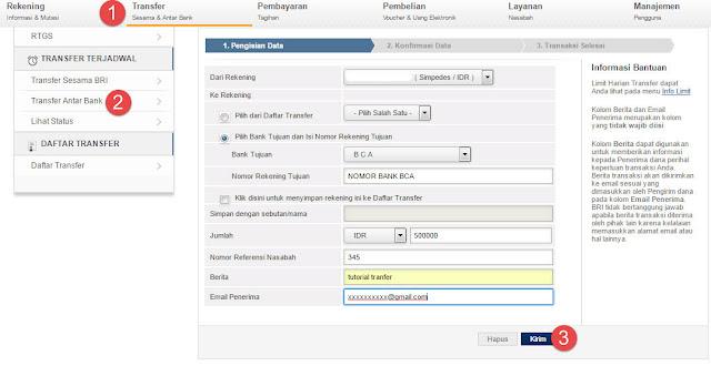 Cara Transfer Uang ke Lain Bank BRI via Internet Banking
