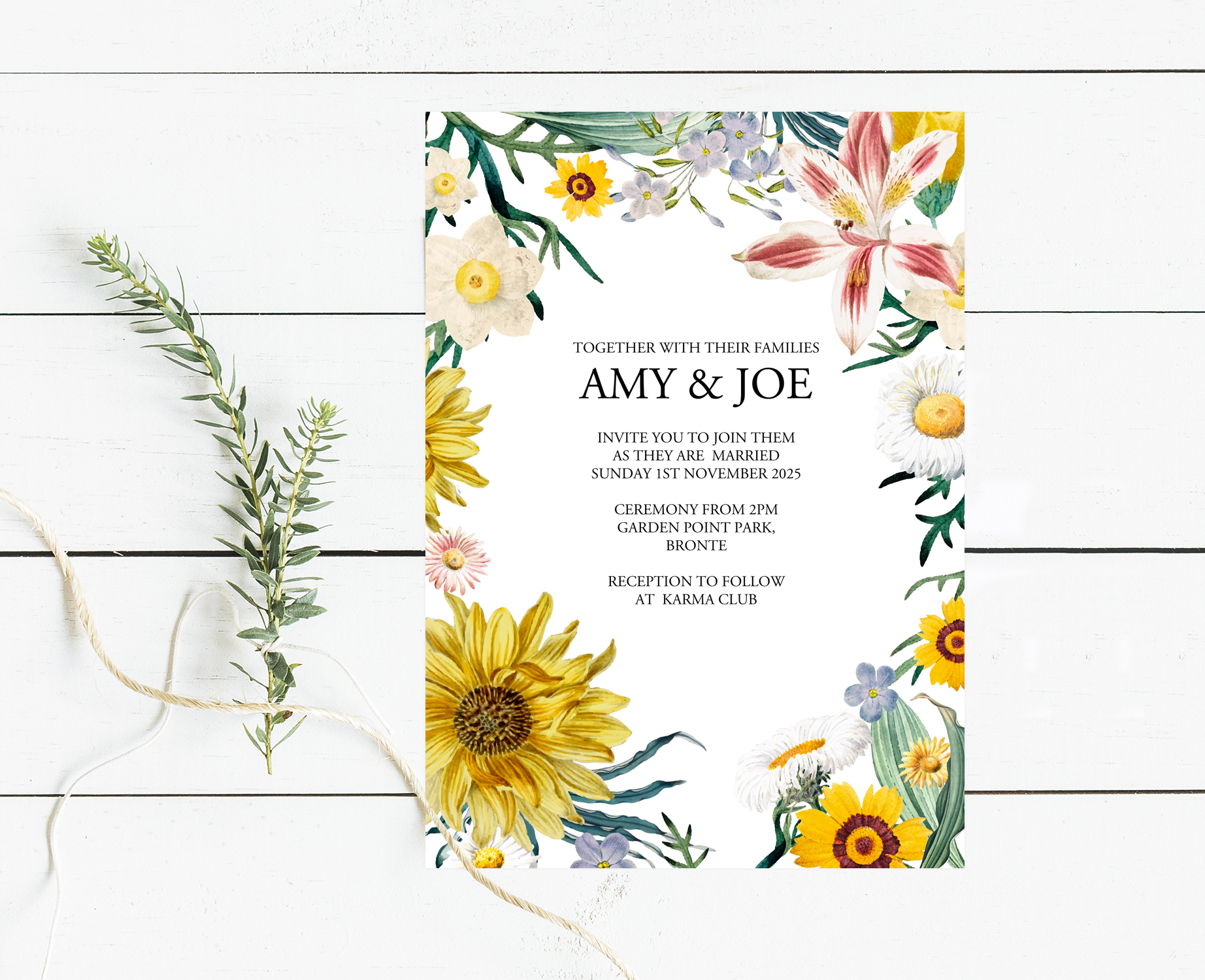 Yellow and grey floral wedding invtation