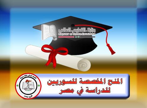 منحة دراسية لطلاب الدرسات العليا للسوريين إلى مصر 2020-2021