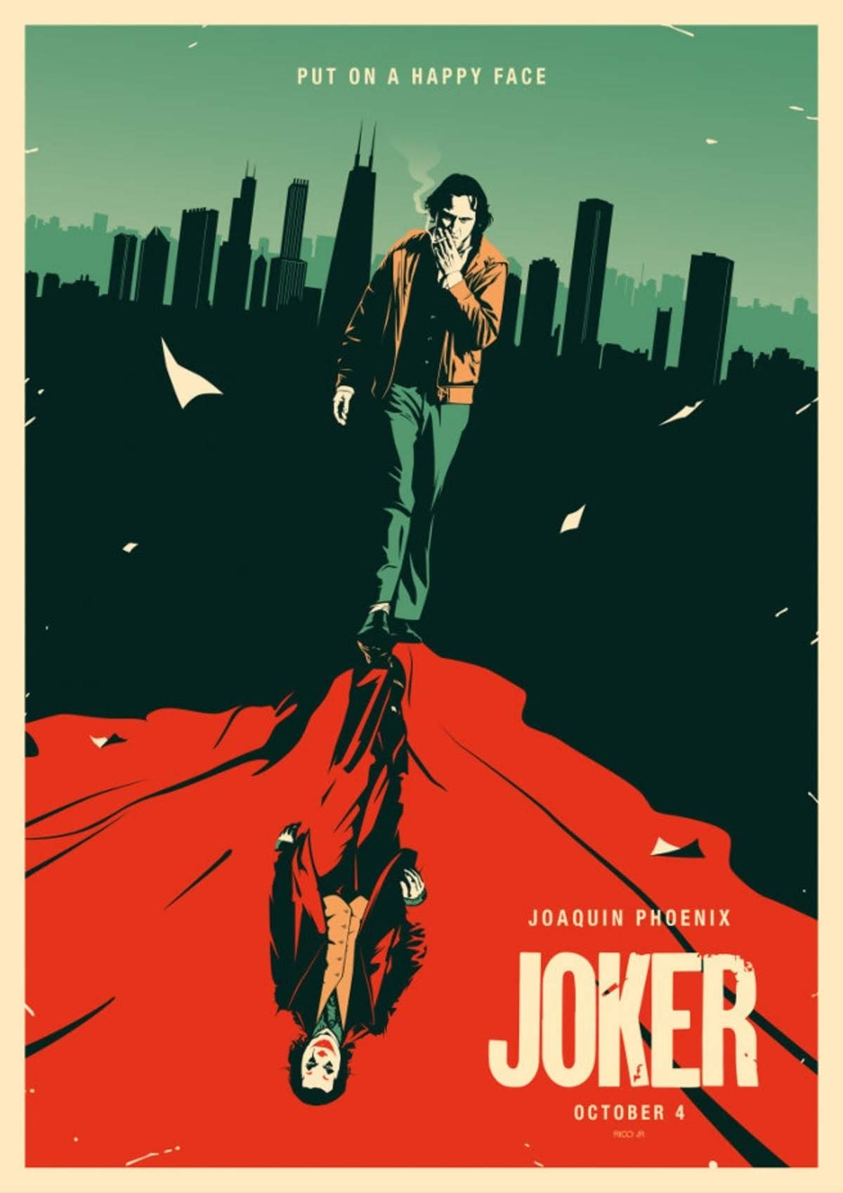 Joker by Julien Rico Jr. : ホアキン・フェニックス主演のアンチ・ヒーロー映画の大ヒット作「ジョーカー」を描いたスタイリッシュなアート・ポスター ! !