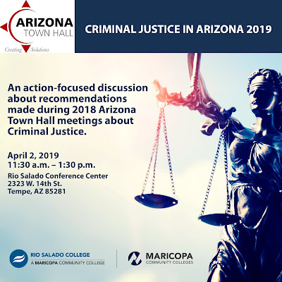 "Poster for event featuring image of ""Blind Justice""  Rio Salado, AZ Town Hall and Maricopa Community Colleges logos.  Text in blog"