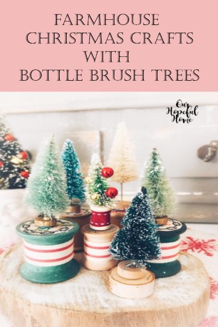 vintage spools ribbon bottle brush trees wood slice charger