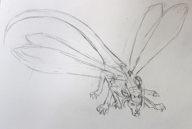 """commission d'un dragon libelule """"dragonfly"""" - crayonné"""