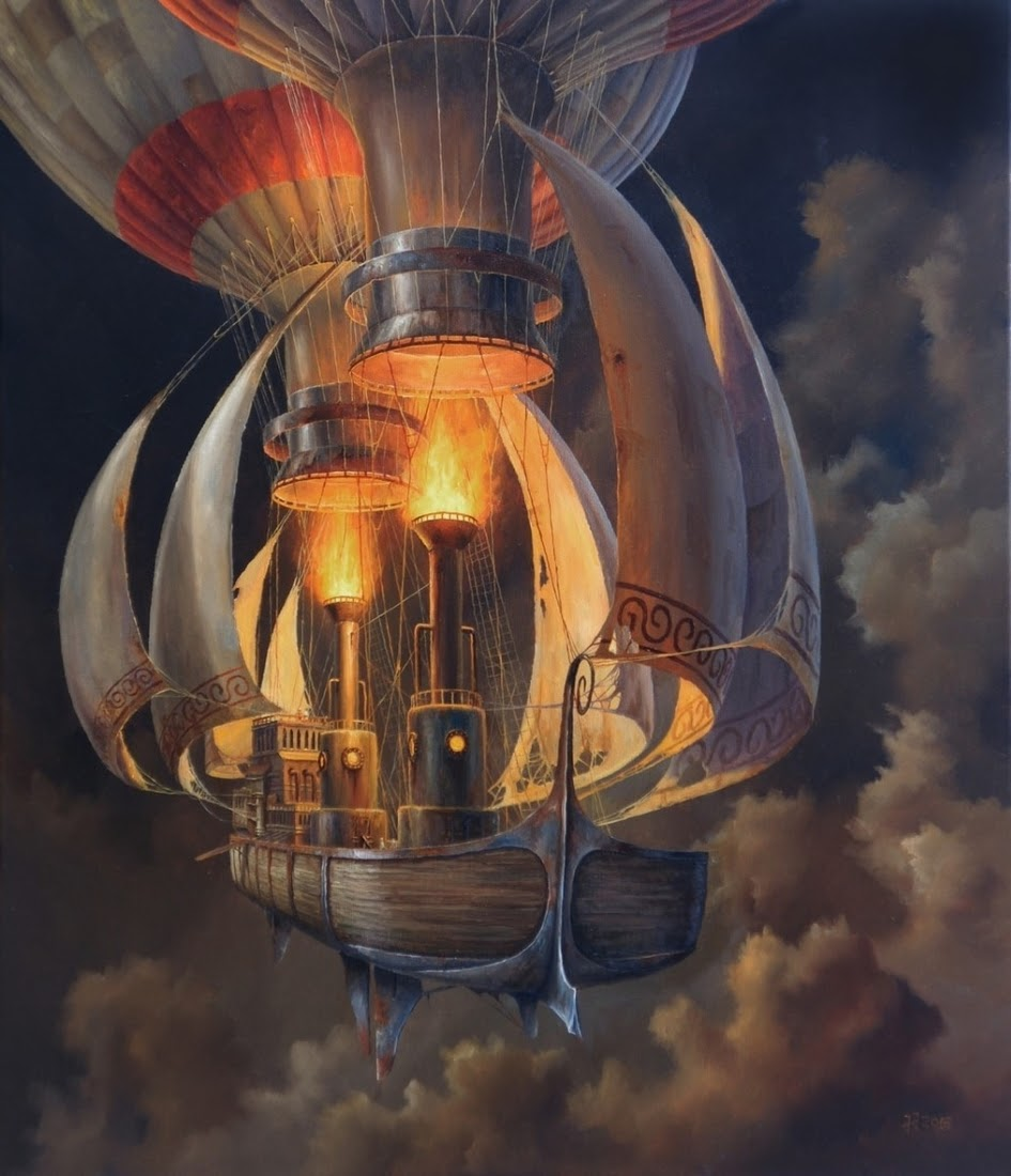 07-No-Name-Jarosław-Jaśnikowski-Paintings-of-Flying-Machines-and-Architectural-Surrealism-www-designstack-co