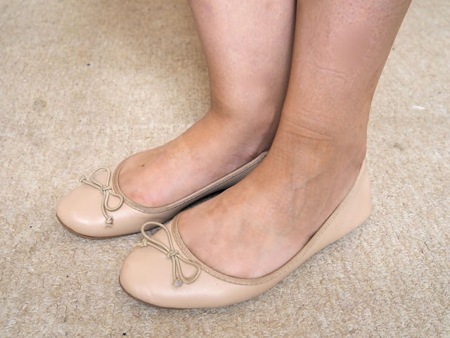 Cinderella Disneybound outfit shoe details of nude flat ballet pumps
