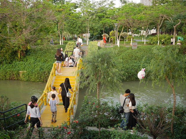 yellow bridge at Paifang Park in Zhaoqing