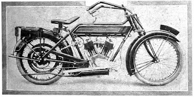 Period illustration of a 1914 Royal Enfield motorcycle.