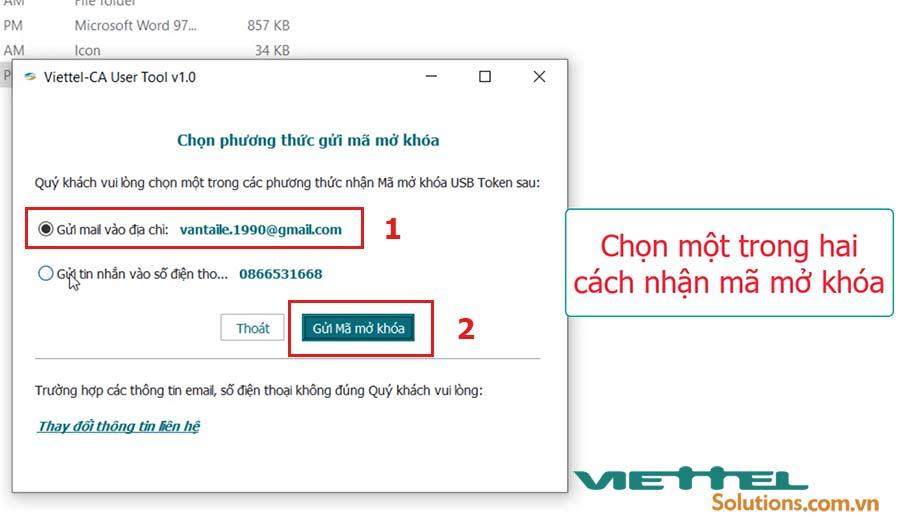 Hình 6 - Chọn phương thức gửi mã mở khóa USB token Viettel