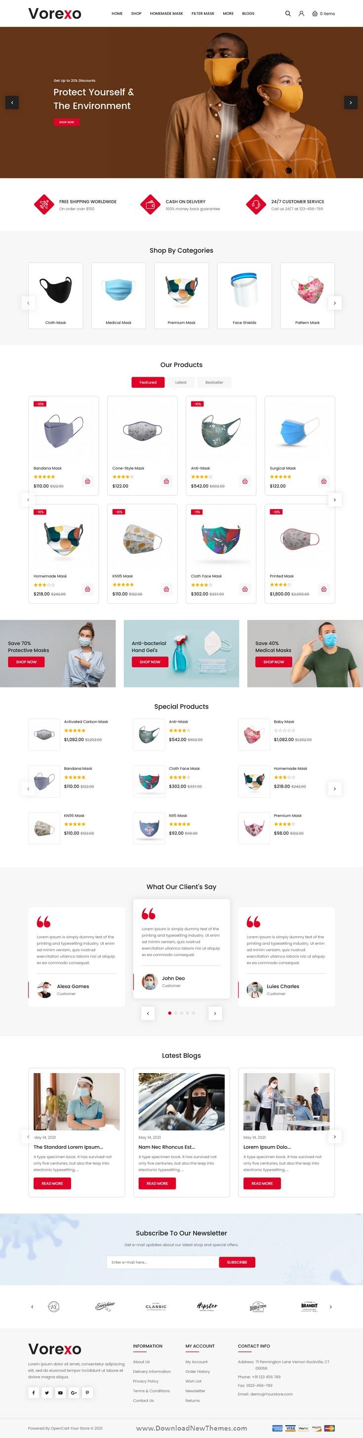Mask Shop OpenCart Theme