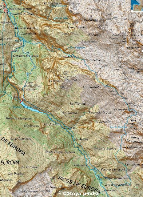 Mapa de la ruta al Camperon en Picos de Europa