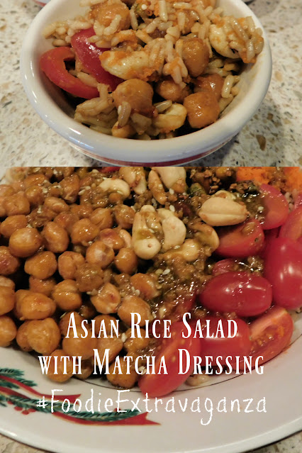 Asian Rice Salad with Matcha Ginger Dressing pin