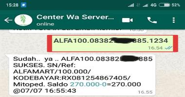 Tiket deposit saldo via indomaret alfamart