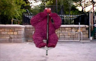 Telly doesn't bounce unless he's on a pogo stick. Telly starts bouncing with a pogo stick. Elmo's World Balls Quiz