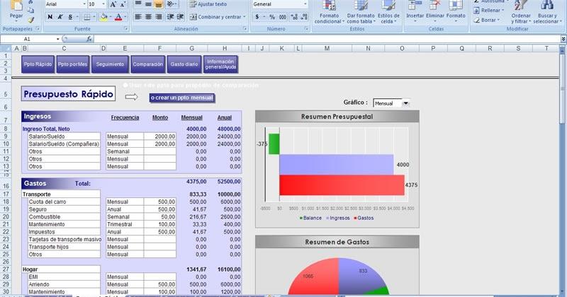 Presupuesto Personal en Excel - Excel Personal Budget Planner ...