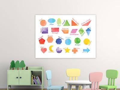 Mama Love Print Printable -  認識形狀早教掛牆圖 Shapes Poster Free Download Freebies Printable Learning Shape