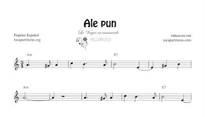Ale Pun La Virgen va caminando Partitura de Flauta, Violín, Saxofón Alto, Trompeta, Viola, Oboe, Clarinete, Saxo Tenor, Soprano Sax, Trombón, Chelo, Fagot, Trompa, Corno, Contrabajo, Tuba... Villancico Tablaturas de Guitarra, Ukelele y Banjo Tabs