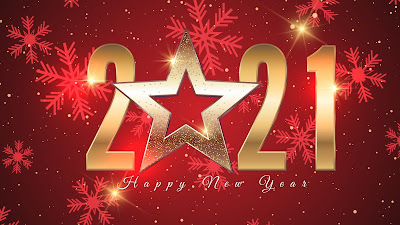 Happy New Year 2021 gold number with star