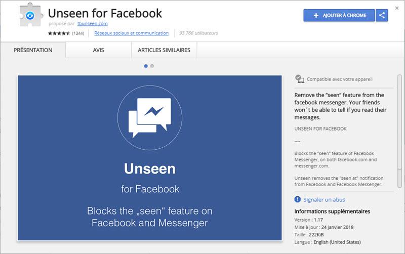 إضافة Unseen for Facebook على متصفح جوجل كروم