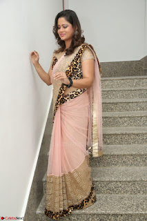 Shilpa Chakravarthy in Lovely Designer Pink Saree with Cat Print Pallu 018.JPG