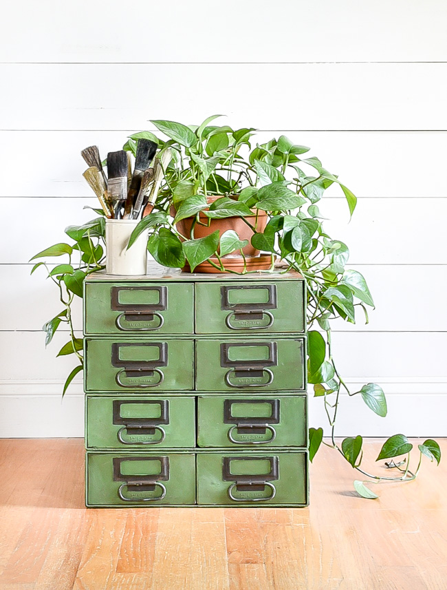 Painted industrial storage drawers