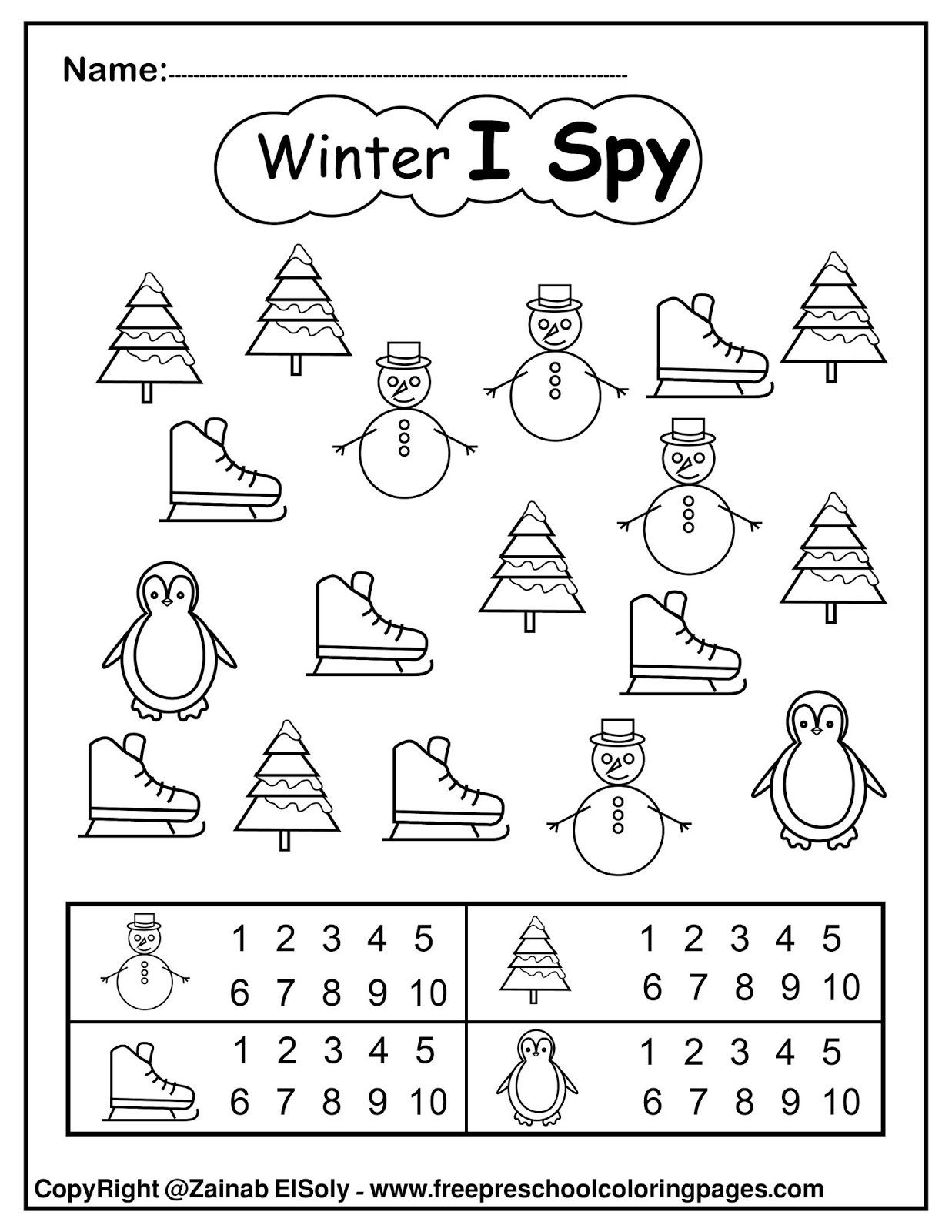 Set Of Winter I Spy Coloring Pages Game