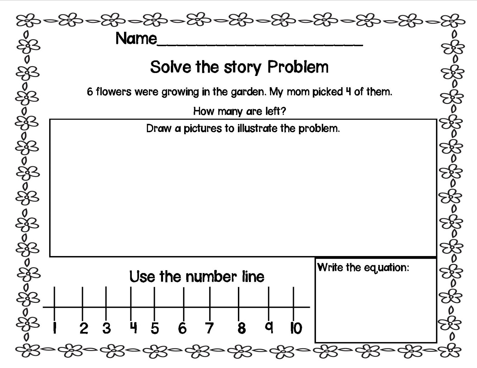 spring+subtraction3 Take Away Math Problems Kindergarten on common core sample, addition story, homework word, solving questions, solving activity, for pre,